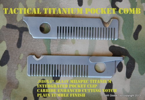 Tactical Titanium pocket Comb/Cutter